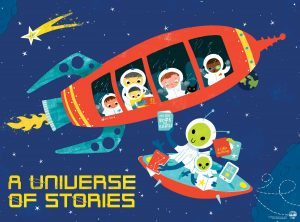 Kids in Space Ship in Outer Space Cartoon